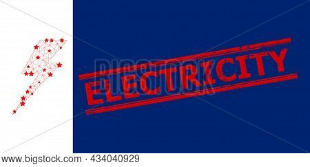 Mesh Electric Strike Polygonal Icon Vector Illustration, And Red Electricity Textured Watermark. Abs