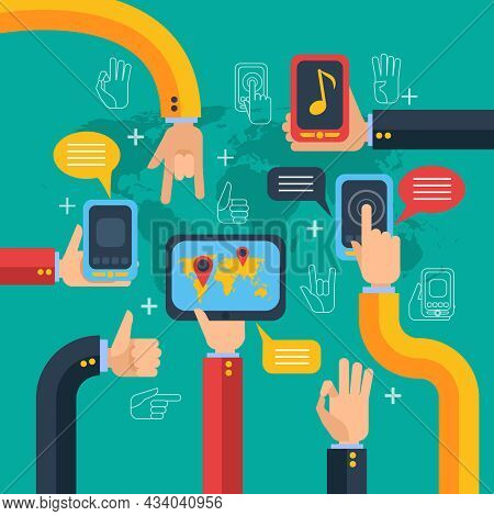 Hands And Phones Concept With Touchscreen Music Player And Map On Green Background  Flat Vector Illu
