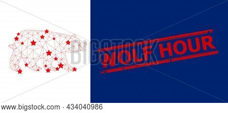 Mesh Bear Polygonal Icon Vector Illustration, And Red Wolf Hour Rubber Stamp. Model Is Created From