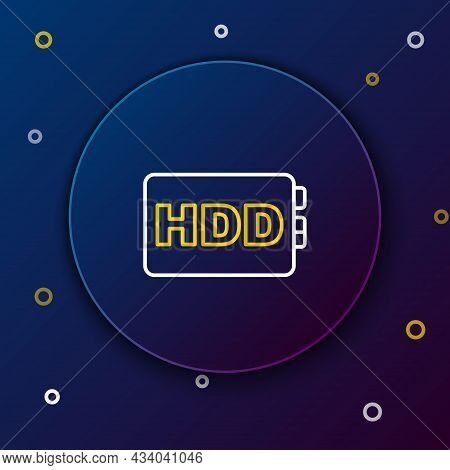 Line Hard Disk Drive Hdd Icon Isolated On Blue Background. Colorful Outline Concept. Vector