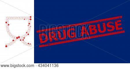 Mesh Mug Polygonal Icon Vector Illustration, And Red Drug Abuse Textured Watermark. Model Is Based O