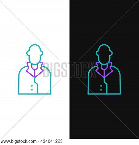 Line Realtor Icon Isolated On White And Black Background. Buying House. Colorful Outline Concept. Ve