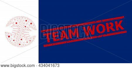 Mesh Cooperation Hands Polygonal Icon Vector Illustration, And Red Team Work Rubber Print. Abstracti