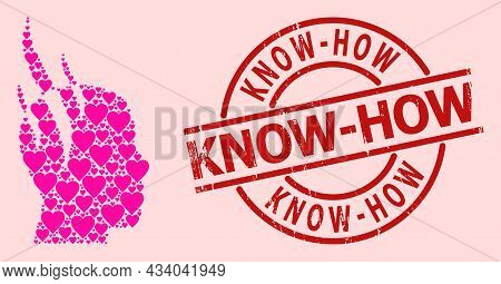 Rubber Know-how Stamp Seal, And Pink Love Heart Mosaic For Brain Steam. Red Round Stamp Has Know-how