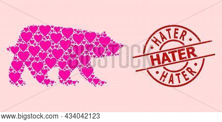 Scratched Hater Stamp Seal, And Pink Love Heart Pattern For Bear. Red Round Stamp Seal Includes Hate