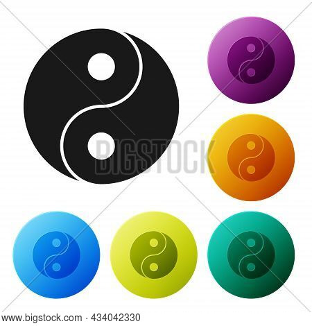 Black Yin Yang Symbol Of Harmony And Balance Icon Isolated On White Background. Set Icons In Color C