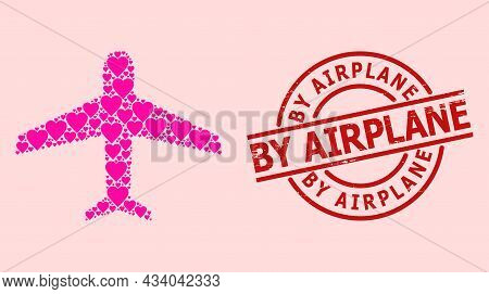 Scratched By Airplane Stamp Seal, And Pink Love Heart Pattern For Airplane. Red Round Stamp Seal Has