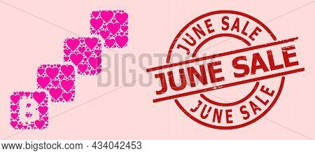 Distress June Sale Stamp Seal, And Pink Love Heart Collage For Bitcoin Blockchain. Red Round Seal Ha