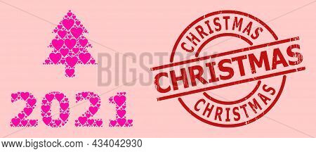 Grunge Christmas Stamp Seal, And Pink Love Heart Collage For 2021 Fir Tree. Red Round Stamp Seal Con