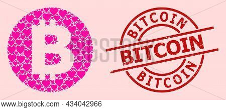 Scratched Bitcoin Stamp, And Pink Love Heart Pattern For Bitcoin. Red Round Stamp Seal Includes Bitc