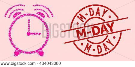 Grunge M-day Stamp Seal, And Pink Love Heart Collage For Alarm Clock. Red Round Stamp Seal Contains