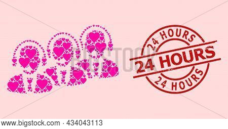 Scratched 24 Hours Seal, And Pink Love Heart Collage For Call Center Staff. Red Round Stamp Seal Con