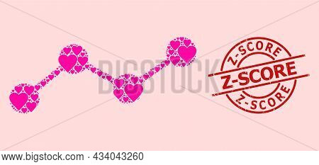 Scratched Z-score Seal, And Pink Love Heart Mosaic For Chart. Red Round Seal Has Z-score Tag Inside