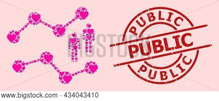 Scratched Public Stamp, And Pink Love Heart Mosaic For Audience Charts. Red Round Stamp Has Public T