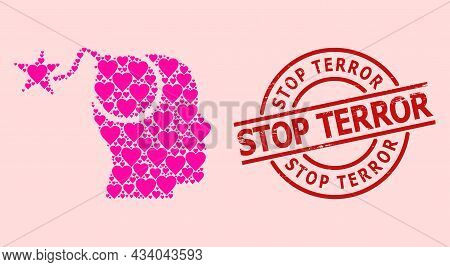 Rubber Stop Terror Stamp Seal, And Pink Love Heart Mosaic For Bomb Idea. Red Round Stamp Seal Contai
