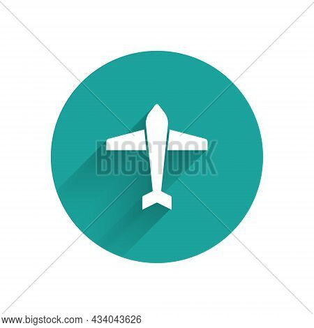 White Jet Fighter Icon Isolated With Long Shadow. Military Aircraft. Green Circle Button. Vector