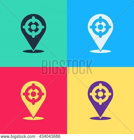 Pop Art Target Sport Icon Isolated On Color Background. Clean Target With Numbers For Shooting Range