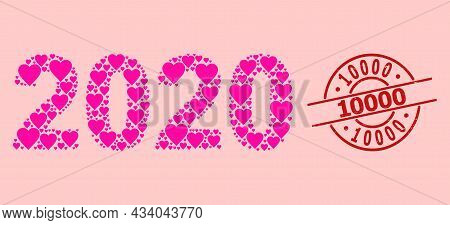 Rubber 10000 Stamp Seal, And Pink Love Heart Collage For 2020 Year Digits. Red Round Stamp Seal Cont