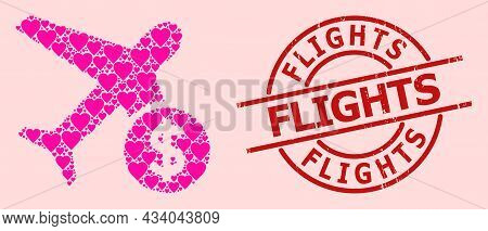 Distress Flights Stamp Seal, And Pink Love Heart Mosaic For Airflight Price. Red Round Stamp Seal Co
