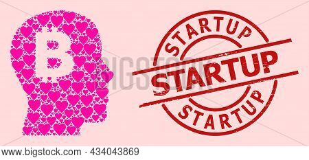Rubber Startup Stamp, And Pink Love Heart Collage For Bitcoin Imagination. Red Round Stamp Has Start