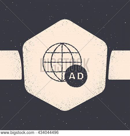 Grunge Advertising Icon Isolated On Grey Background. Concept Of Marketing And Promotion Process. Res