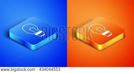 Isometric Light Bulb With Concept Of Idea Icon Isolated On Blue And Orange Background. Energy And Id