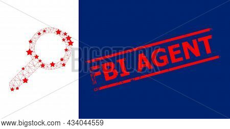 Mesh Zoom Polygonal Icon Vector Illustration, And Red Fbi Agent Rough Seal. Carcass Model Is Based O