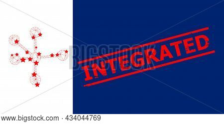 Mesh Node Connections Polygonal Icon Vector Illustration, And Red Integrated Scratched Stamp Imitati