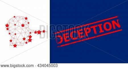 Mesh Liar Person Polygonal Icon Vector Illustration, And Red Deception Dirty Badge. Model Is Based O