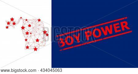 Mesh Bomb Idea Polygonal Icon Vector Illustration, And Red Boy Power Grunge Badge. Carcass Model Is