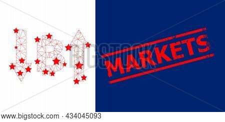 Mesh Bitcoin Volatility Polygonal Icon Vector Illustration, And Red Markets Corroded Stamp Imitation