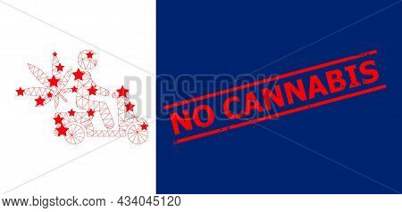 Mesh Marijuana Motorbike Delivery Polygonal Icon Vector Illustration, And Red No Cannabis Grunge Sta