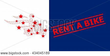 Mesh Fast Motorbike Courier Polygonal Icon Vector Illustration, And Red Rent A Bike Grunge Stamp Imi