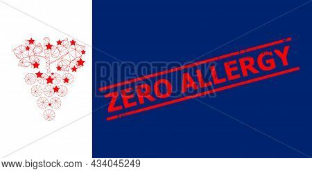 Mesh Grapes Bunch Polygonal Icon Vector Illustration, And Red Zero Allergy Scratched Stamp Print. Ca