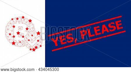Mesh Accept Bitcoin Polygonal Symbol Vector Illustration, And Red Yes, Please Scratched Stamp Imitat
