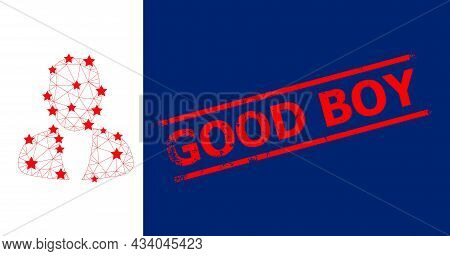 Mesh Guy Person Polygonal Icon Vector Illustration, And Red Good Boy Textured Stamp. Carcass Model I