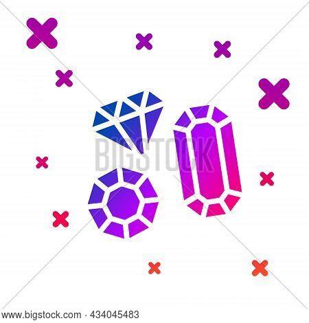 Color Gem Stone Icon Isolated On White Background. Jewelry Symbol. Diamond. Gradient Random Dynamic