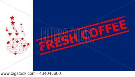 Mesh Coffee Aroma Polygonal Symbol Vector Illustration, And Red Fresh Coffee Scratched Stamp. Carcas