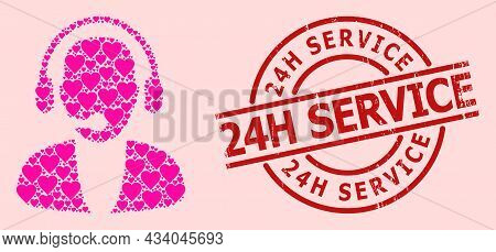 Scratched 24h Service Seal, And Pink Love Heart Mosaic For Online Operator. Red Round Stamp Seal Has