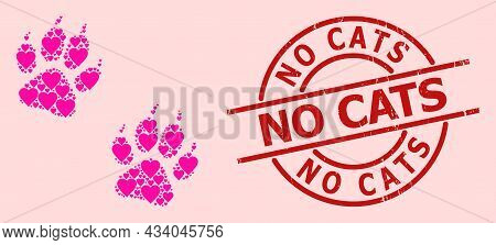Scratched No Cats Stamp Seal, And Pink Love Heart Pattern For Tiger Fingerprints. Red Round Stamp Se