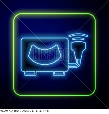 Glowing Neon Ultrasound Icon Isolated On Blue Background. Medical Equipment. Vector