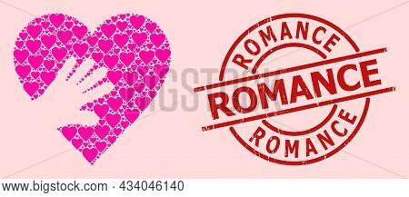 Grunge Romance Stamp Seal, And Pink Love Heart Mosaic For Hand Touch Heart. Red Round Stamp Has Roma