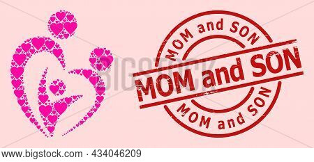 Distress Mom And Son Seal, And Pink Love Heart Mosaic For Familty Care. Red Round Stamp Seal Include
