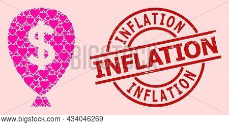 Rubber Inflation Badge, And Pink Love Heart Collage For Financial Inflation Balloon. Red Round Badge
