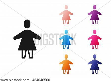 Black Female Icon Isolated On White Background. Venus Symbol. The Symbol For A Female Organism Or Wo