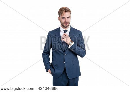 Businessman In Businesslike Suit And Wristwatch Isolated On White, Business Professional.