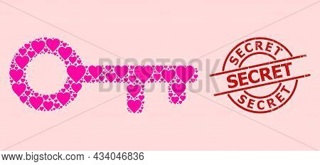 Textured Secret Stamp Seal, And Pink Love Heart Pattern For Key. Red Round Stamp Seal Contains Secre