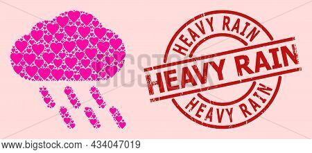 Grunge Heavy Rain Stamp Seal, And Pink Love Heart Mosaic For Rain. Red Round Stamp Seal Includes Hea