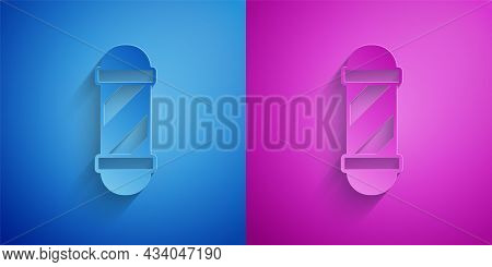 Paper Cut Classic Barber Shop Pole Icon Isolated On Blue And Purple Background. Barbershop Pole Symb