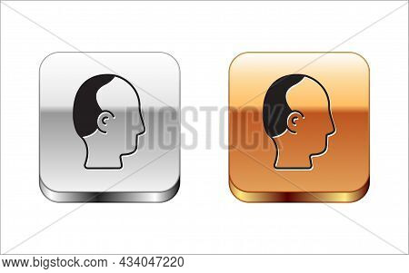 Black Baldness Icon Isolated On White Background. Alopecia. Silver And Gold Square Buttons. Vector